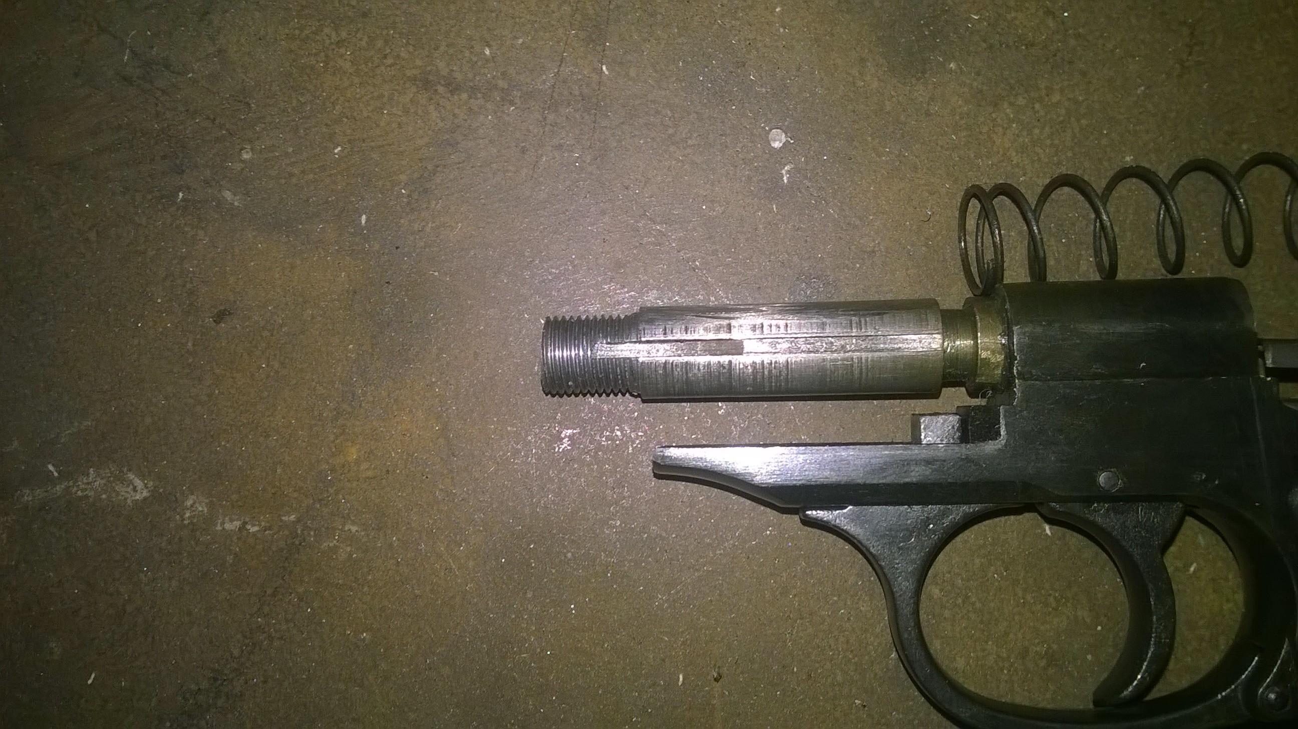 Нарезать резьбу на стволе травматического пистолета для установки глушителя
